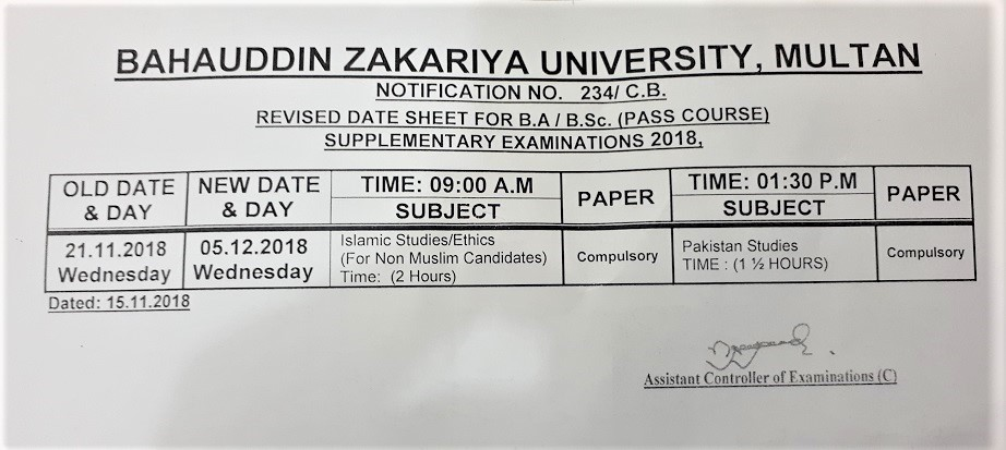 Revised Date Sheet for B A/B Sc Supplementary Examination 2018