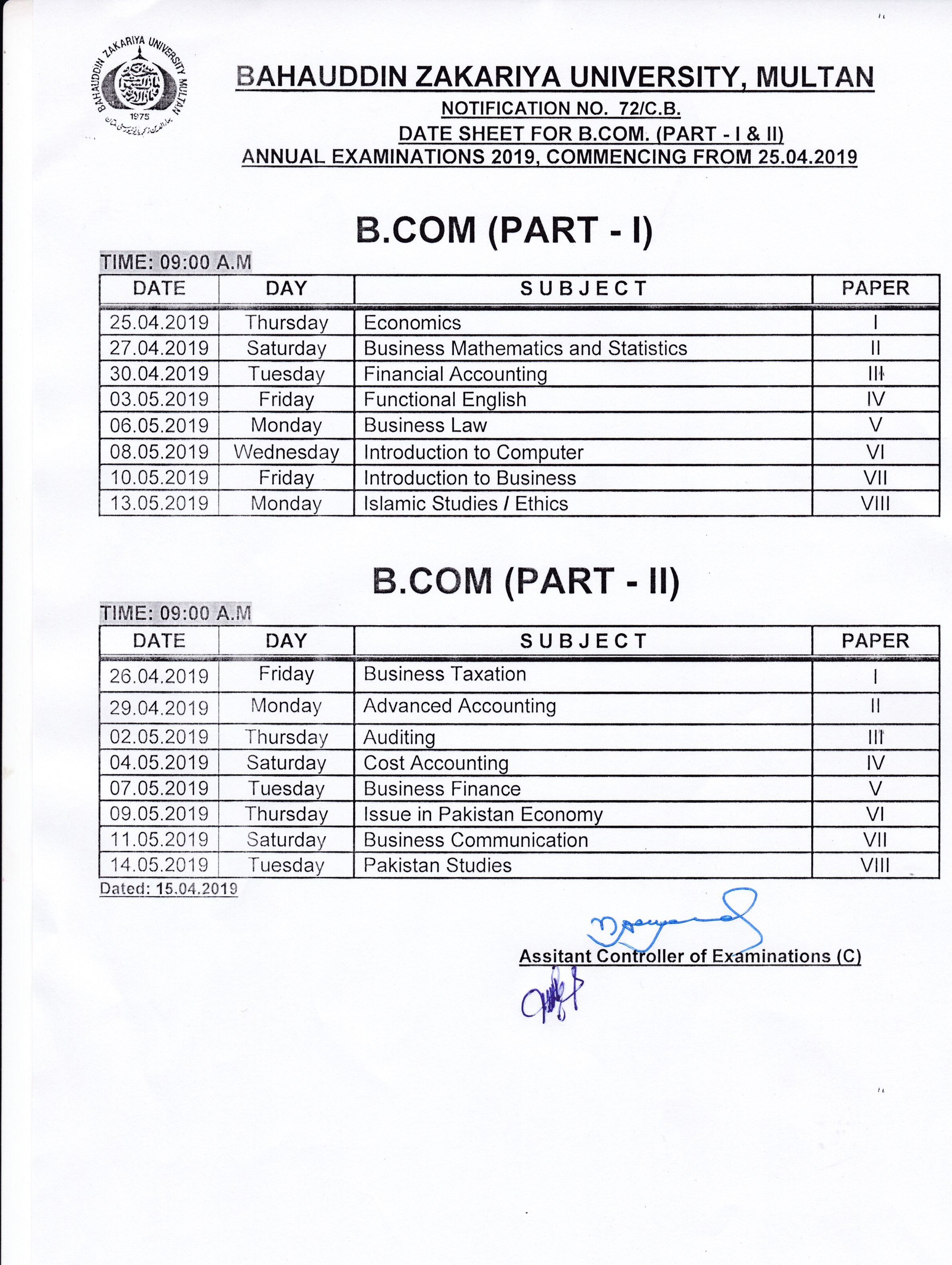 Date Sheet for B COM (PART I& II) Annual Examinations 2019