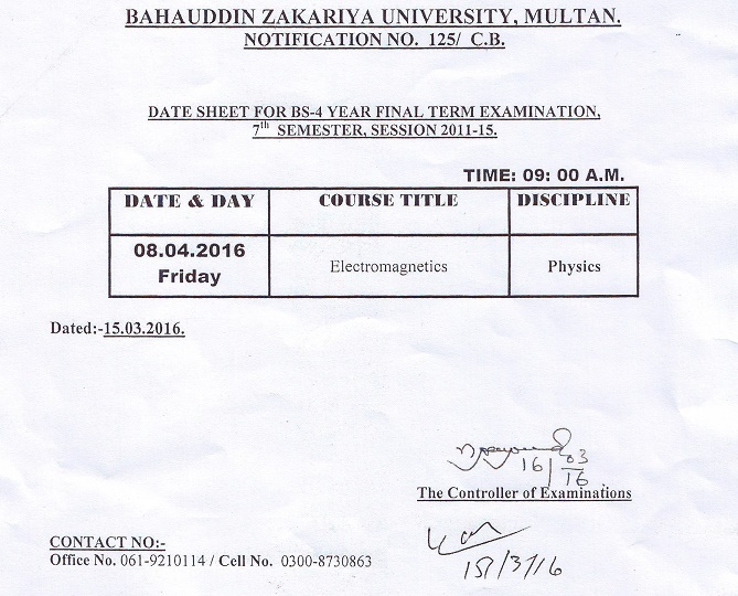 Date Sheet for BS-4 Year Final Term Examination, 7th Semester, Session 2011-15