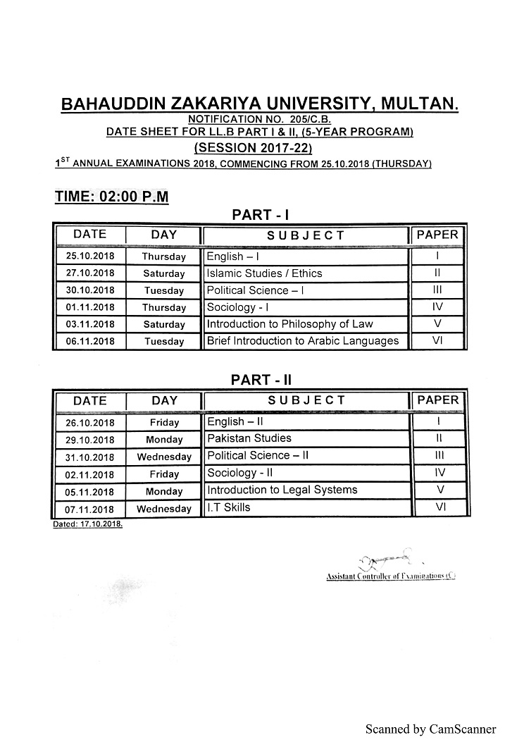 Date Sheet for LLB (3 & 5 Years Programs) - News and Events